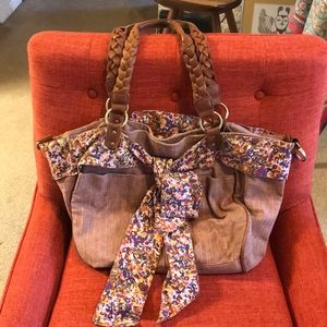 Deux Lux fabric shoulder bag with leather accents